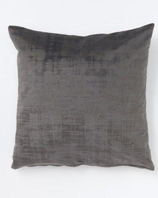 Dark Grey Textured Faux Velvet Cushion