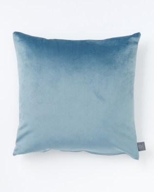 Light Teal Blue Faux Velvet Cushion