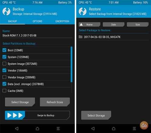Резервное копирование устройства Android - резервное копирование TWRP Nandroid