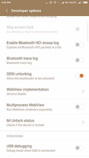Включить OEM-разблокировку на устройствах Xiaomi