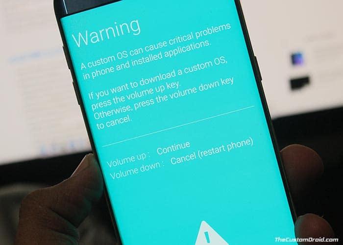 Установите стандартную прошивку Samsung с помощью Odin - предупреждение режима загрузки