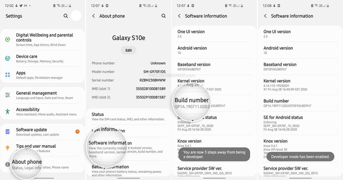 Включить параметры разработчика на Samsung Galaxy S10 series