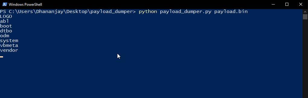 Распакуйте Android OTA Payload.bin на ПК с Windows