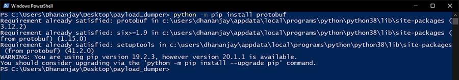 Установите Protobuf Dependency с помощью Windows PowerShell