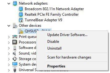 Установите драйверы Qualcomm HS-USB QDLoader 9008 - Ручной метод - Устройство определено как QHUSB_BULK