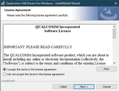 Установите драйверы Qualcomm HS-USB QDLoader 9008 - Прямой метод - Примите Условия