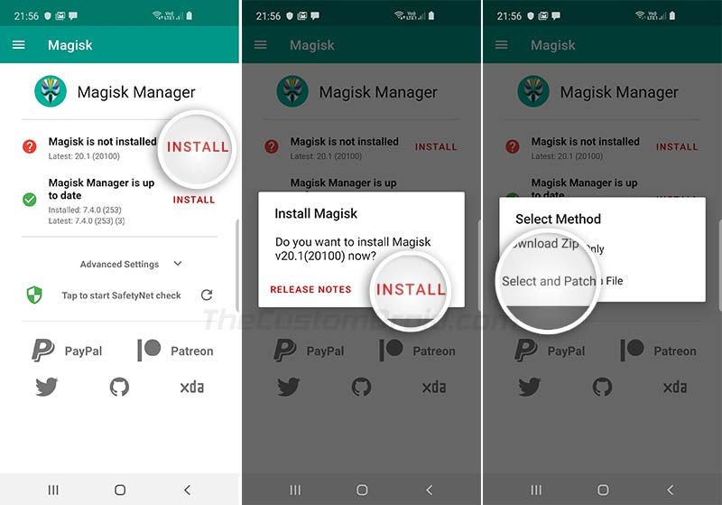 Выберите и исправьте файл с помощью Magisk Manager на Galaxy Note 10/10 +