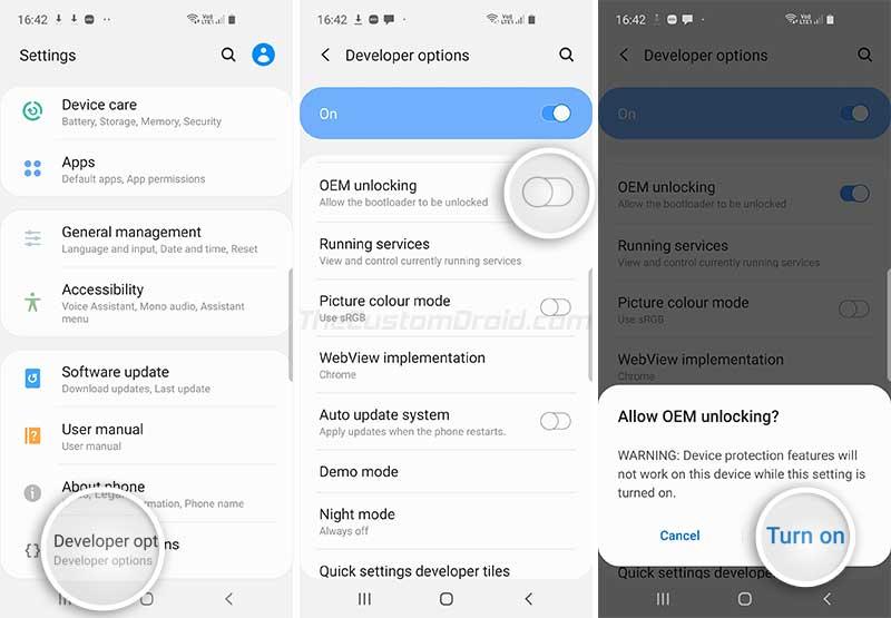 Включить OEM-разблокировку на Galaxy Note 10/10+