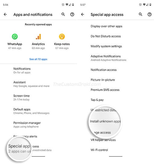 Включите «Установить неизвестные приложения» на Android Oreo и выше - перейдите в «Дополнительно» и выберите «Специальный доступ к приложениям».