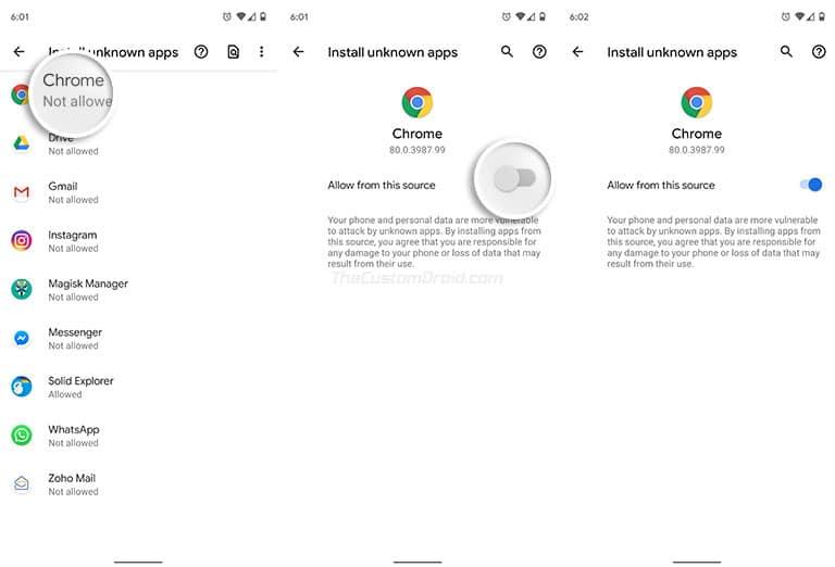 Включите «Установить неизвестные приложения» на Android Oreo и выше - включите «Разрешить из этого источника»
