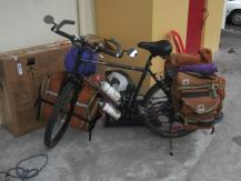 The Bike Fully Loaded and Read to Leave the Airport