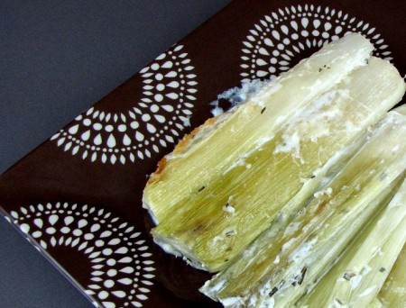 Baked Leeks with Garlic, Thyme and Parmigiano