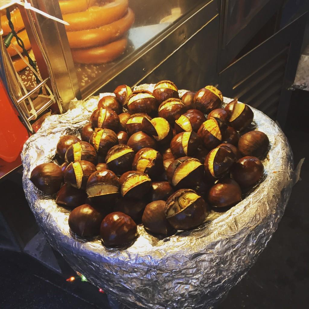 Roasting chestnuts fill New York's night air.