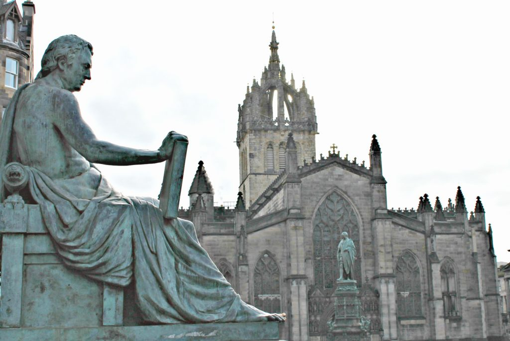 The front of St. Giles Cathedral in Edinburgh, Scotland