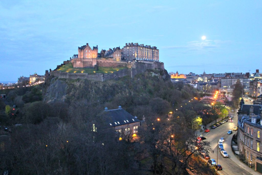 Edinburgh Castle looming above Edinburgh, Scotland