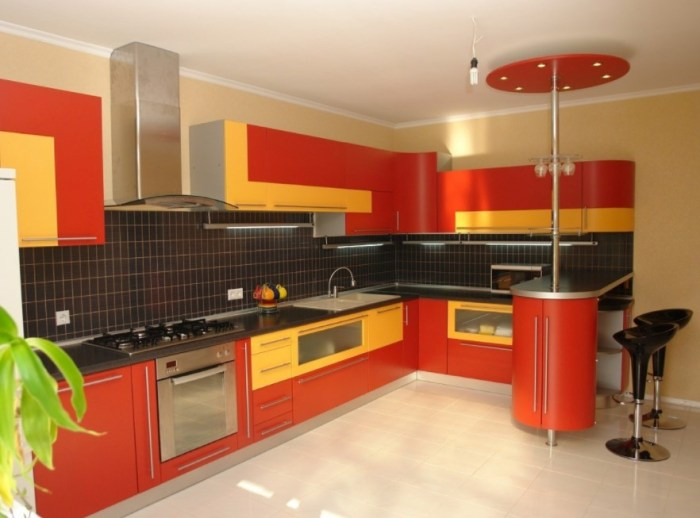 Wonderful two tone kitchen cabinets pictures options Orange and yellow kitchen ideas