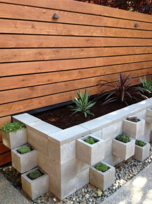 Modern Industrial Cinderblock Planter Bed