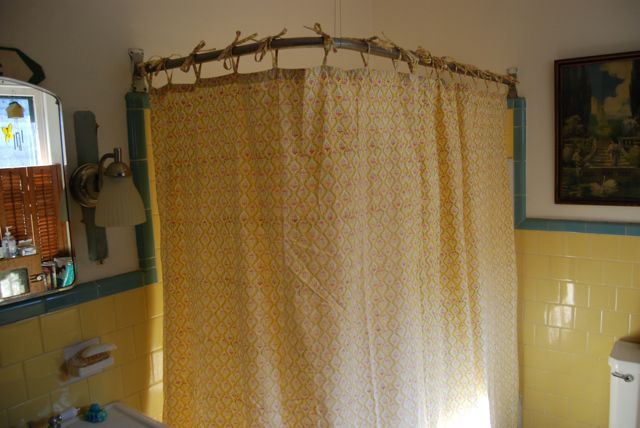 hemmed the whole thing to a perfect length and shazam shower curtain not bad for an hour of work yay