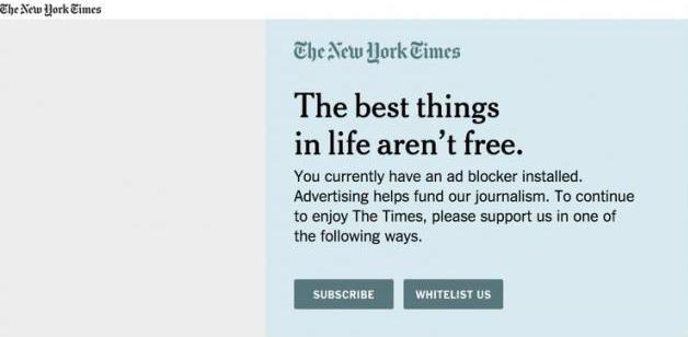 New York Times Pop-Up Advertisement