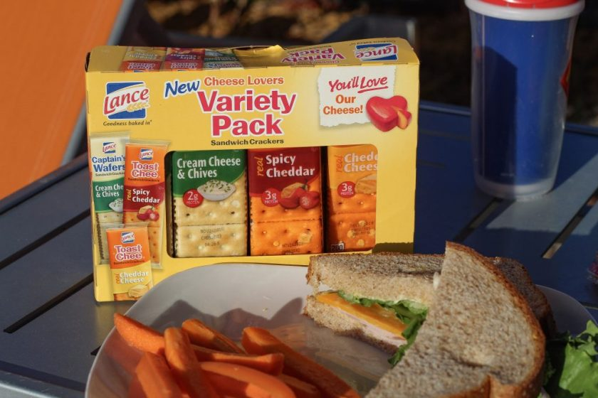 lance snacks variety box with sandwich and carrots