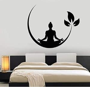 yoga room decal showing a yogi meditating on a moon
