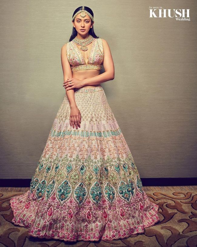 Rakul Preet Bridal Lehnga Choli Powder Pink
