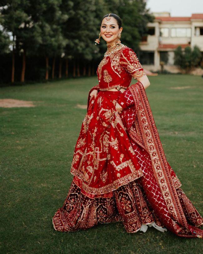 Hania Aamir Bridal Shoot Red Dress