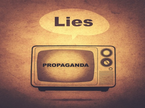 lies and propaganda on tv (retro effect)