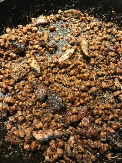 meatless crumbles with shiitake mushrooms