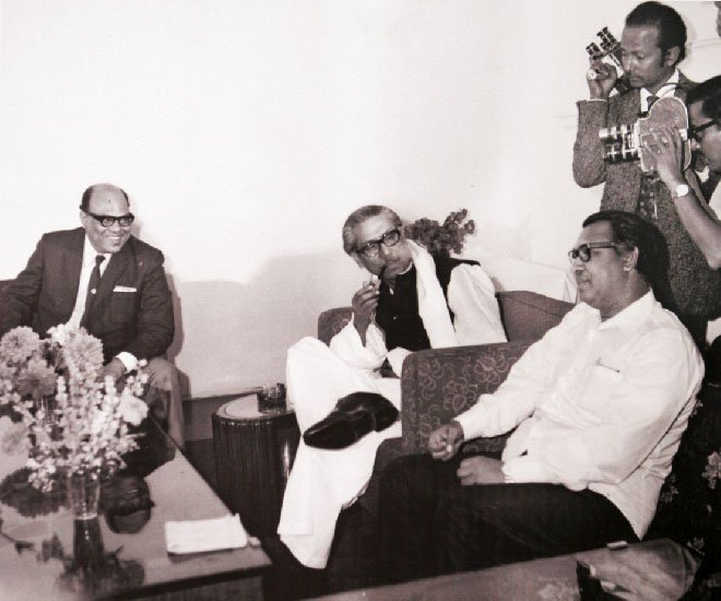 Syed Nazrul Islam, Bangabandhu and Tajuddin Ahmad. Photo Courtesy: Simin Hossain Rimi