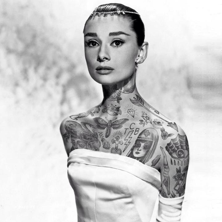 Audrey Hepburn With Tattoos By Artist Cheyenne Randall