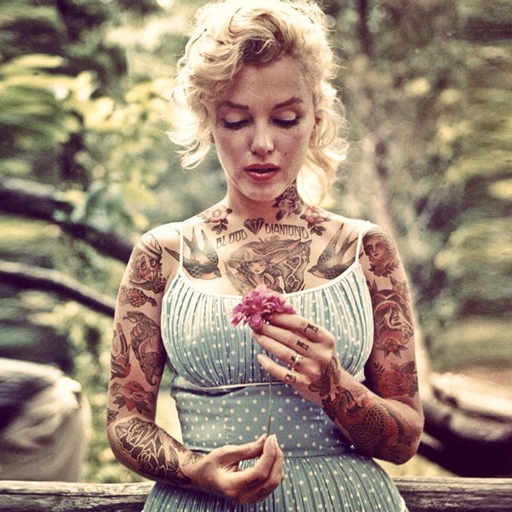 Marilyn Monroe With Tattoos By Artist Cheyenne Randall