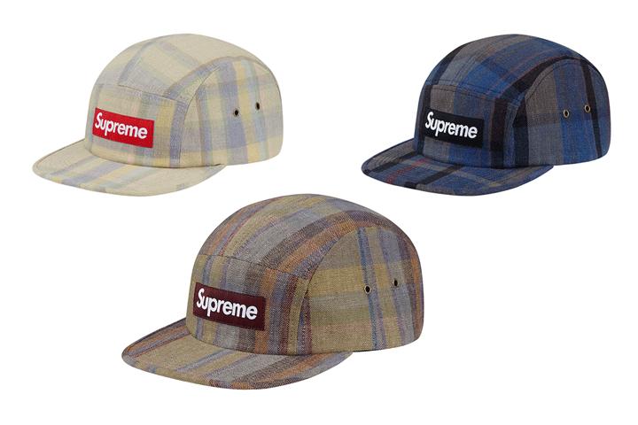 Supreme plaid linen camp caps 001