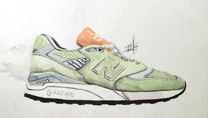 New Balance sneaker watercolour painting by Achildcolor 002