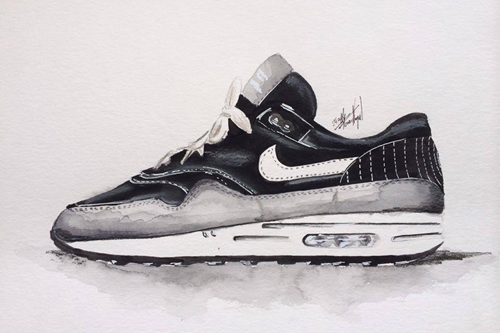 Nike Air Max 1 sneaker watercolour painting by Achildcolor 002