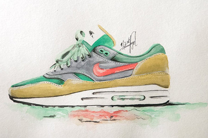 Nike Air Max 1 sneaker watercolour painting by Achildcolor 006