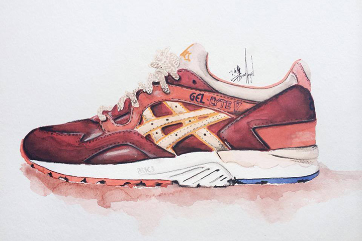 Ronnie Fieg Asics sneaker watercolour painting by Achildcolor 002