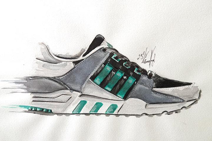 adidas Originals EQT sneaker watercolour painting by Achildcolor 001