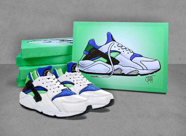 new concept 5a00b 14cea Nike Air Huarache 'Scream Green' Canvases by Tom Clapp for 5 ...