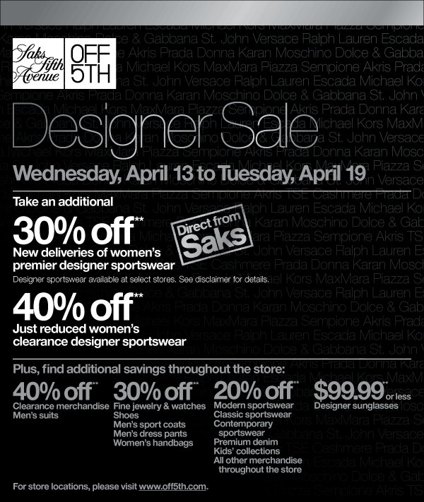 picture about Avenue Coupon Printable referred to as Discount codes for off saks 5th road : Coupon code brunos draft