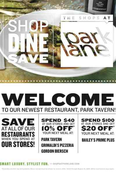 Shop, Dine and Save at The Shops at Park Lane