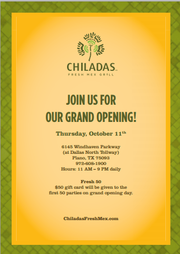 Chiladas Fresh Mex Grill Opens on October 11th