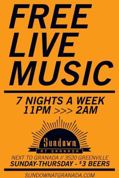 Sundown Announces Free Live Shows