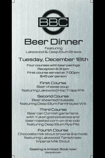 BBC Announces First Beer Dinner (and You're Invited)