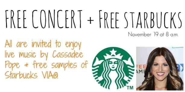 Starbucks Offers Free Cassadee Pope Concert in Dallas