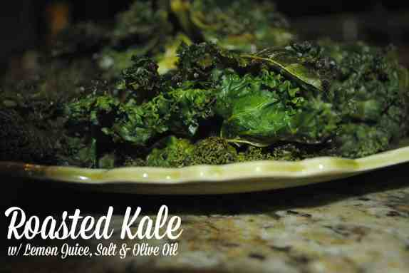 Easy to make Roasted Kale with Lemon Juice, salt and olive oil