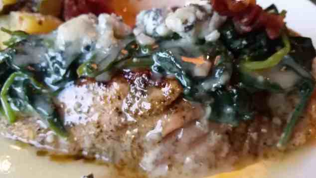 Spinach Bacon Gorgonzola Atlantic Salmon at Bonefish Grill