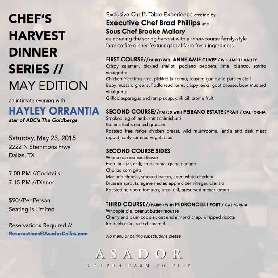 Chef\'s Harvest Dinner Series at Asador hosted by Hayley Orrantia of ...