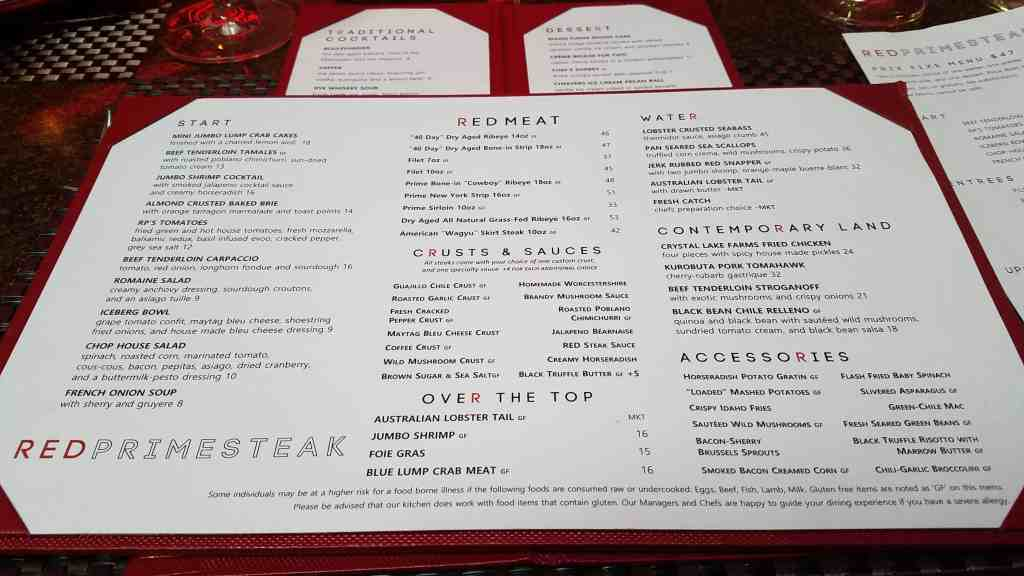 Red Primesteak Menu