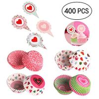 Geefuun 400PCS Valentine's Day Cupcake Toppers Liners - Baking Cake Cups Picks Party Supplies